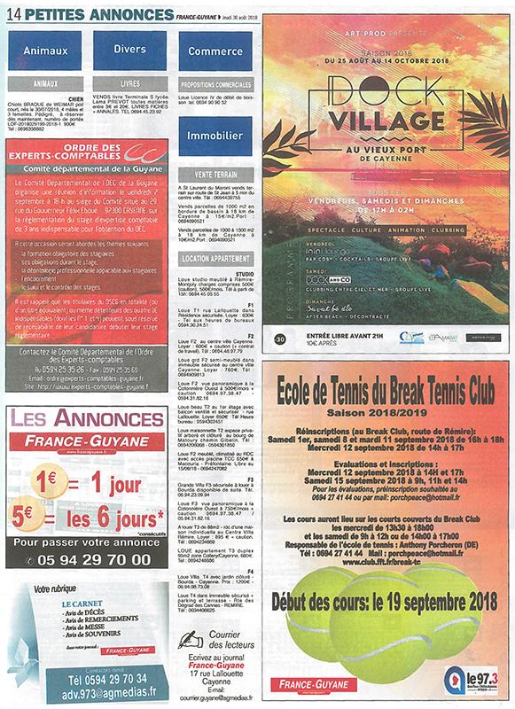 Parution de l'Ordre des Experts Comptables dans le France Guyane